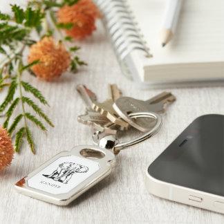 Monogrammed Cute Black Elephant Keychain