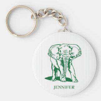 Monogrammed Cute Hunter Green Elephant Keychain