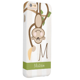 Monogrammed Cute Monkey Barely There iPhone 6 Plus Case
