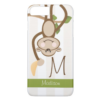 Monogrammed Cute Monkey iPhone 7 Plus Case