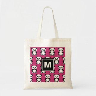 Monogrammed Cute Panda Bear Animal Kawaii Pink Kid Tote Bag