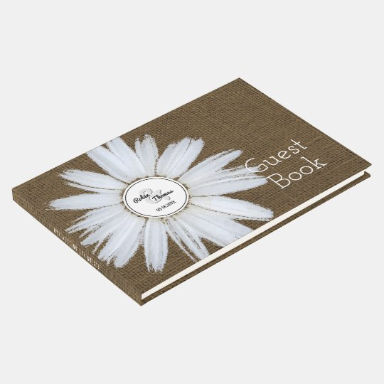 Monogrammed Daisy | Burlap Country Rustic Wedding Guest Book