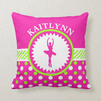 Monogrammed Dancer Pink and Green Polka-Dots Throw Pillow