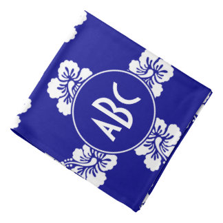 Monogrammed Dark Blue and White Hawaiian Pattern Head Kerchiefs