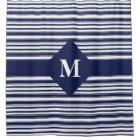 Monogrammed Dark Blue and White Stripes