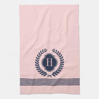 Monogrammed Dark Blue & Pink Wreath And Stripes Kitchen Towels