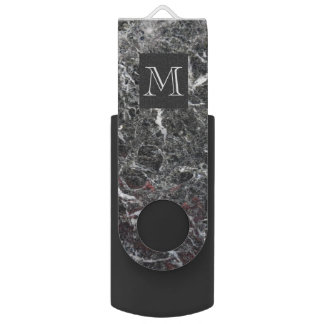 Monogrammed Dark Gray And White Marble USB Flash Drive