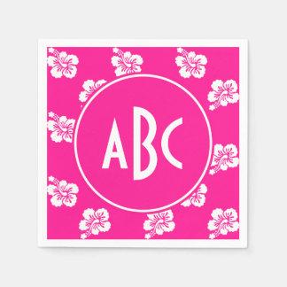 Monogrammed Deep Pink and White Hawaiian Pattern Napkin