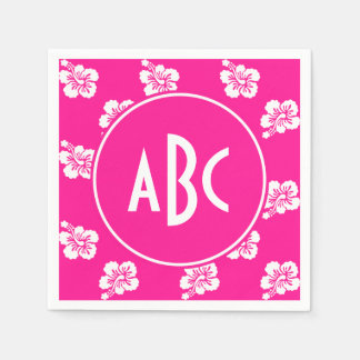 Monogrammed Deep Pink and White Hawaiian Pattern Paper Napkins