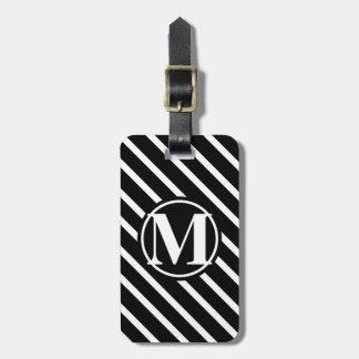 Monogrammed Diagonal Striped Luggage Tag