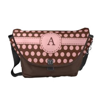 Monogrammed Dots Messenger Bag