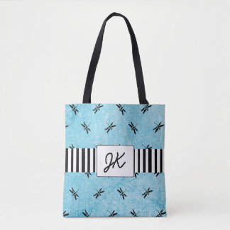 Monogrammed Dragonfly Black and Blue Tote Bag