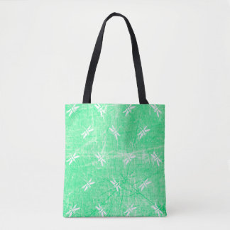 Monogrammed Dragonfly Green and White Tote Bag