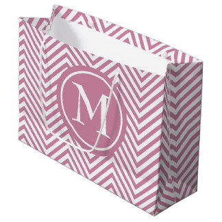 Monogrammed Dusty Rose & White Zigzag Gift Bag Lrg