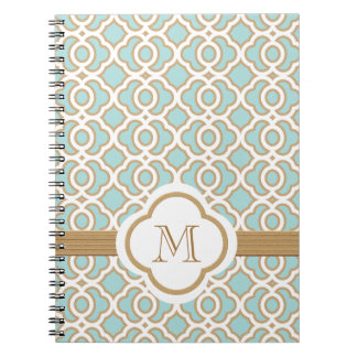 Monogrammed Eggshell Blue and Gold Moroccan Spiral Note Books