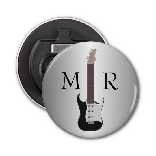 Monogrammed Electric Guitar Button Bottle Opener