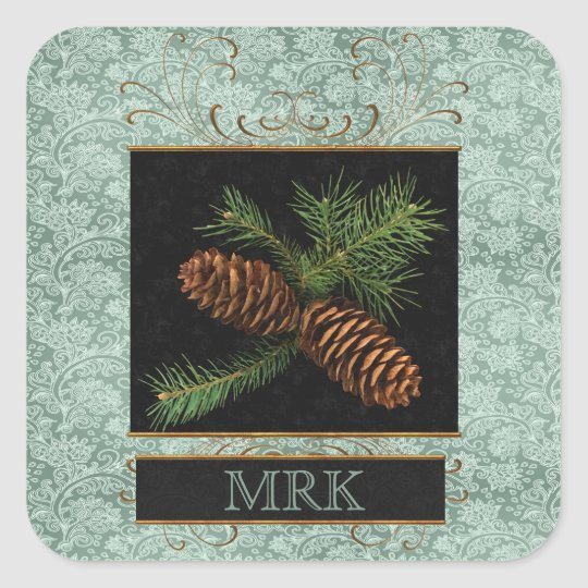 Monogrammed Elegance with Pine Cones Square Sticker
