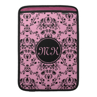 Monogrammed Elegant Classy Pink Black Damask Girly Sleeve For MacBook Air