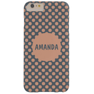 Monogrammed Elegant Peach Pink Polka Dot Barely There iPhone 6 Plus Case
