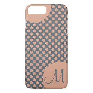 Monogrammed Elegant Peach Pink Polka Dot iPhone 7 Plus Case