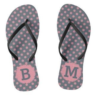 Monogrammed Elegant Pink Polka Dot Flip Flops