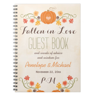 Monogrammed Fall Pumpkin Acorn Wedding Guest Boook Notebooks