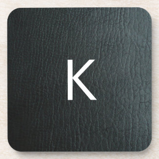 Monogrammed Faux Black Leather Texture Beverage Coasters