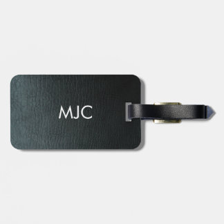 Monogrammed Faux Black Leather Texture Luggage Tag