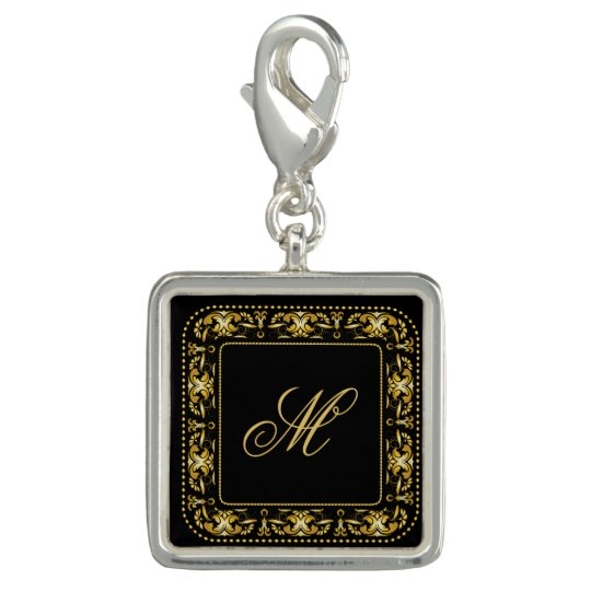 Monogrammed Faux Gold Filigree Frame & Initial Charms