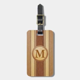 Monogrammed Faux wood Bag Luggage Tag