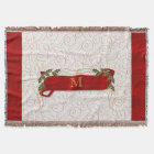 Monogrammed Festive Red with Boughs of Holly Throw Blanket