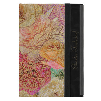 Monogrammed Field of Roses in Color Pencil w/ Gold iPad Mini Case