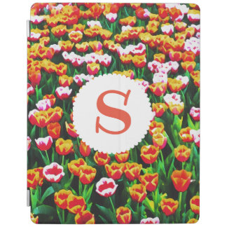 Monogrammed Field of Tulips iPad Cover