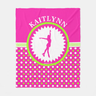 Monogrammed Figure Skater Pink - Green Polka-Dots Fleece Blanket