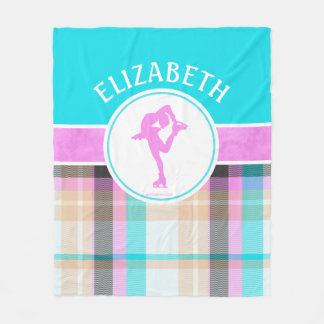 Monogrammed Figure Skater Summer Tartan Fleece Blanket