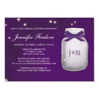 "Monogrammed Firefly Mason Jar Bridal Shower 5"" X 7"" Invitation Card"