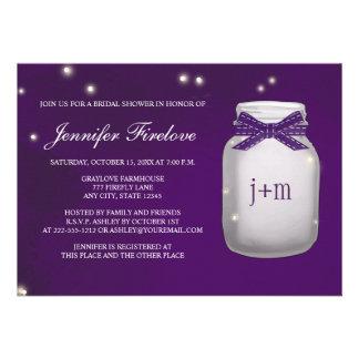 Monogrammed Firefly Mason Jar Bridal Shower Invitations