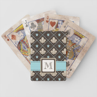 Monogrammed Fleur de Lis Blue Bicycle® Playing Car Bicycle Playing Cards
