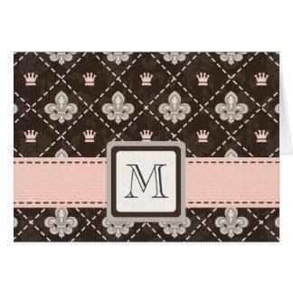 Monogrammed Fleur de Lis Note Cards Pink and Brown
