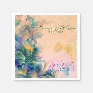 Monogrammed Floral Background Blue And Beige Disposable Napkins