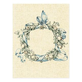 Monogrammed Floral Wreath Postcard