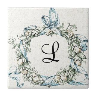 Monogrammed Floral Wreath Tile