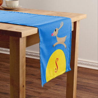 Monogrammed Flying Reindeer Short Table Runner