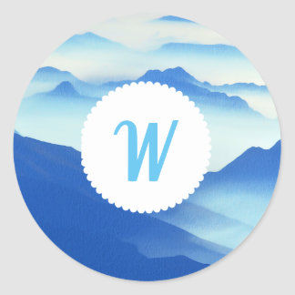 Monogrammed Foggy Mountain Vista Classic Round Sticker