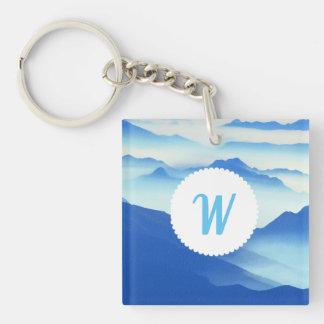 Monogrammed Foggy Mountain Vista Keychain