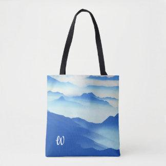 Monogrammed Foggy Mountain Vista Tote Bag