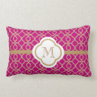 Monogrammed Fuchsia and Gold Moroccan Lumbar Pillow