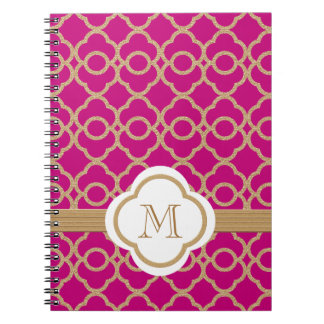 Monogrammed Fuchsia and Gold Moroccan Note Book