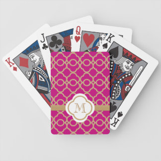 Monogrammed Fuchsia Gold Moroccan Bicycle Playing Cards