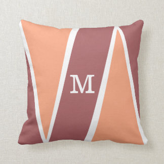 Monogrammed Geometric Pattern Orange Marsala Throw Pillow